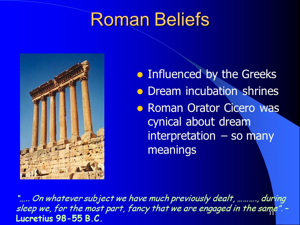 Roman Beliefs Influenced by the Greeks Dream incubation shrines
