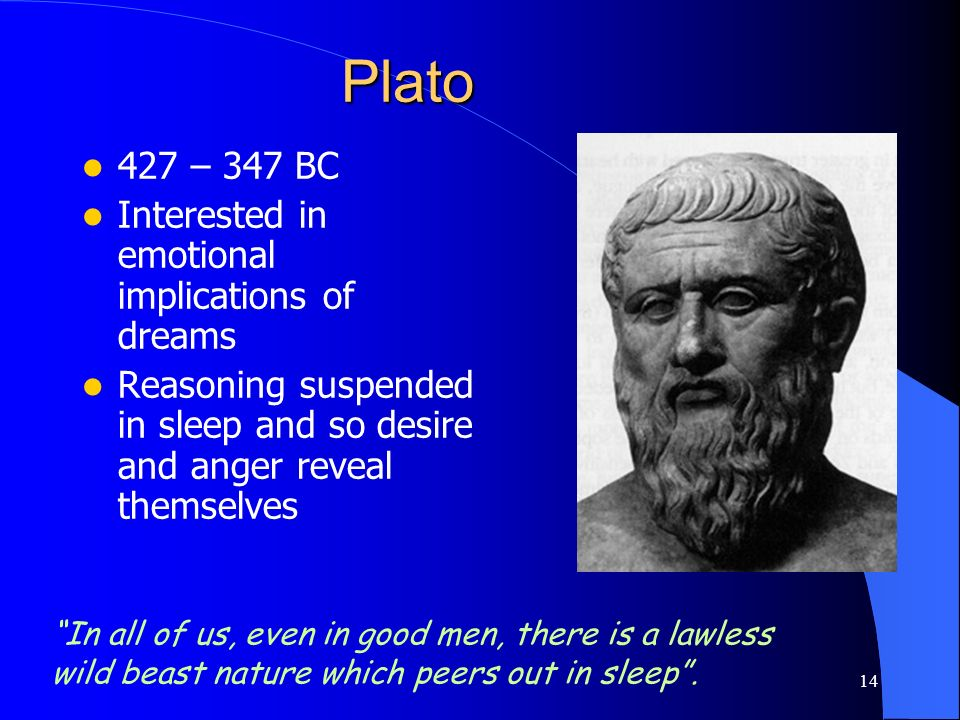 Plato 427 – 347 BC Interested in emotional implications of dreams