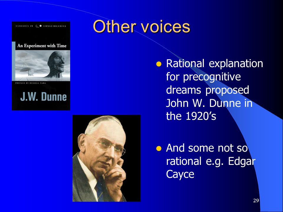 Other voices Rational explanation for precognitive dreams proposed John W.