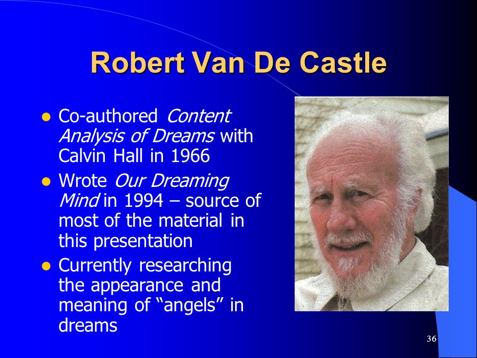 Robert Van De Castle Co-authored Content Analysis of Dreams with Calvin Hall in 1966.