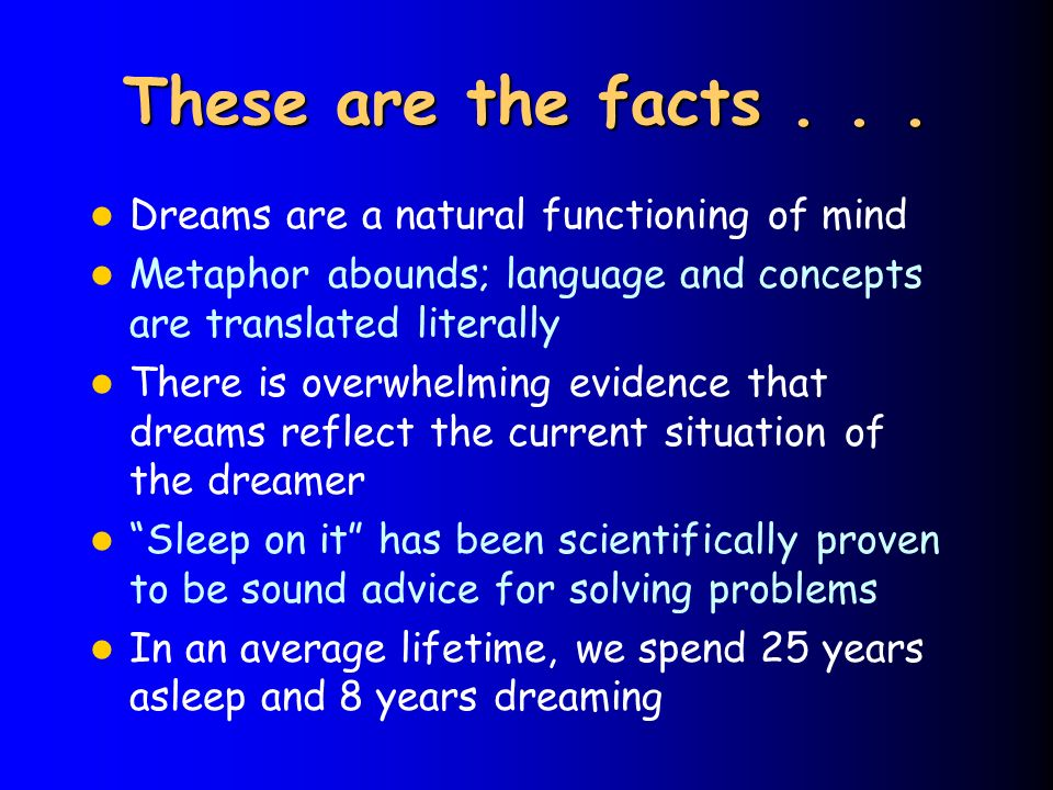 These are the facts . . . Dreams are a natural functioning of mind