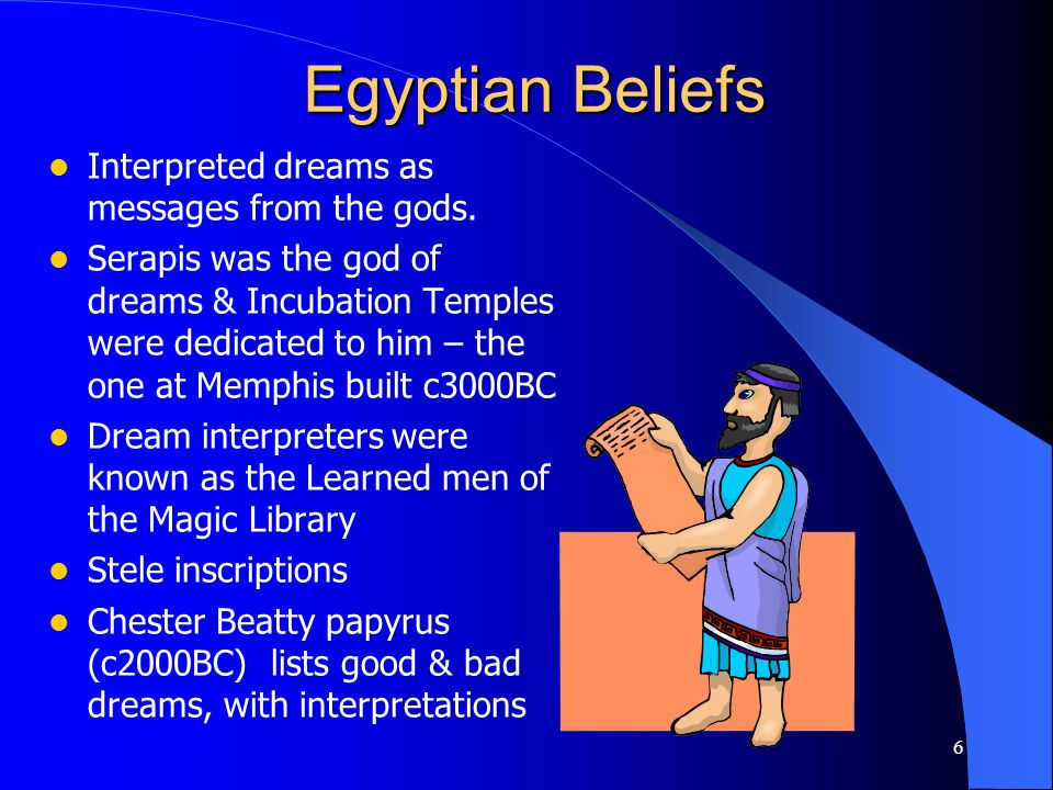 Egyptian Beliefs Interpreted dreams as messages from the gods.
