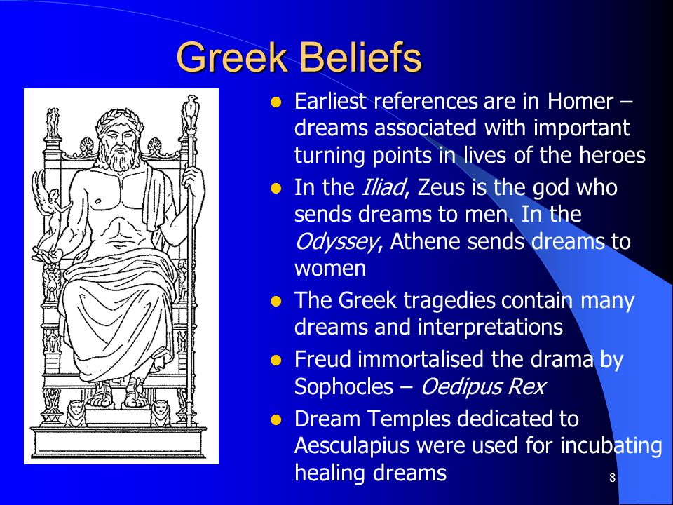 Greek Beliefs Earliest references are in Homer – dreams associated with important turning points in lives of the heroes.