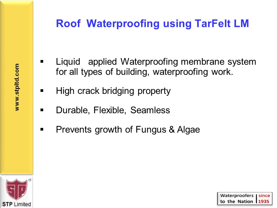 Roof Waterproofing using TarFelt LM
