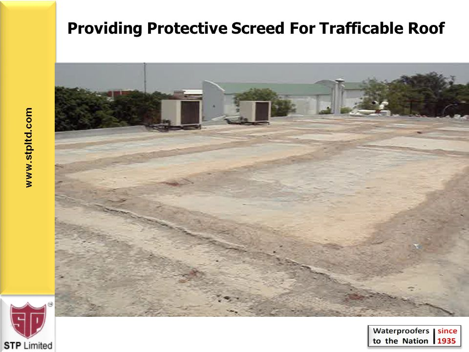 Providing Protective Screed For Trafficable Roof