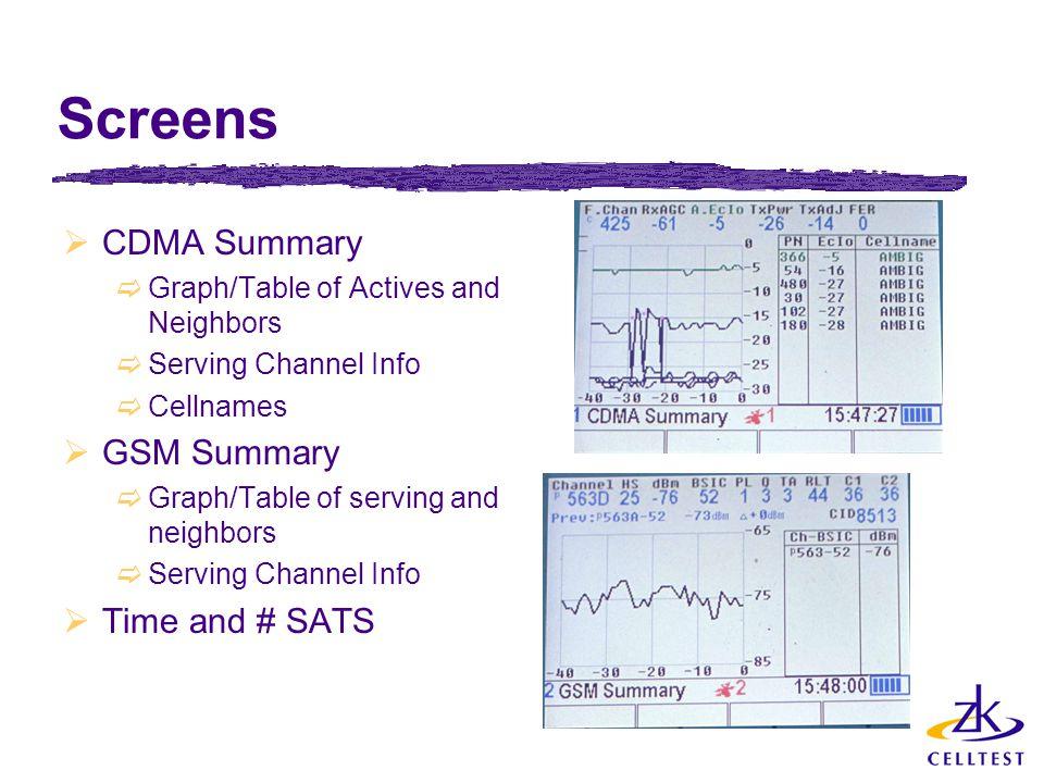 Screens CDMA Summary GSM Summary Time and # SATS