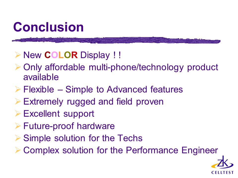 Conclusion New COLOR Display ! !