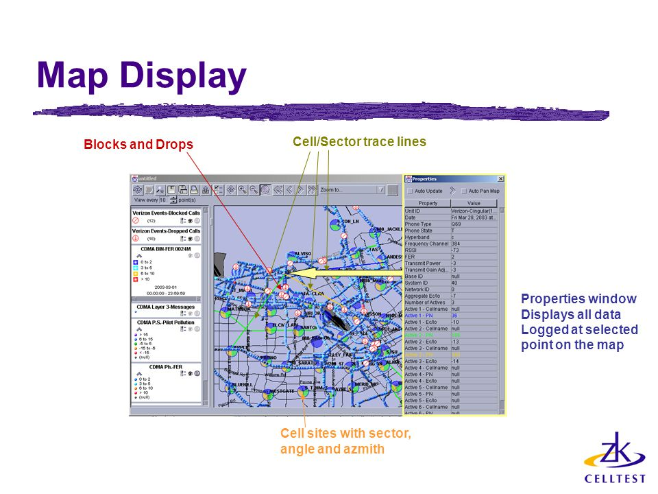 Map Display Cell/Sector trace lines Blocks and Drops Properties window