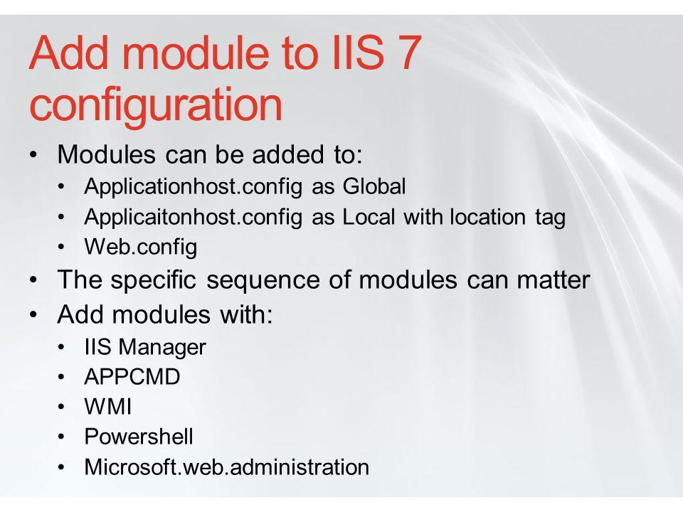Add module to IIS 7 configuration
