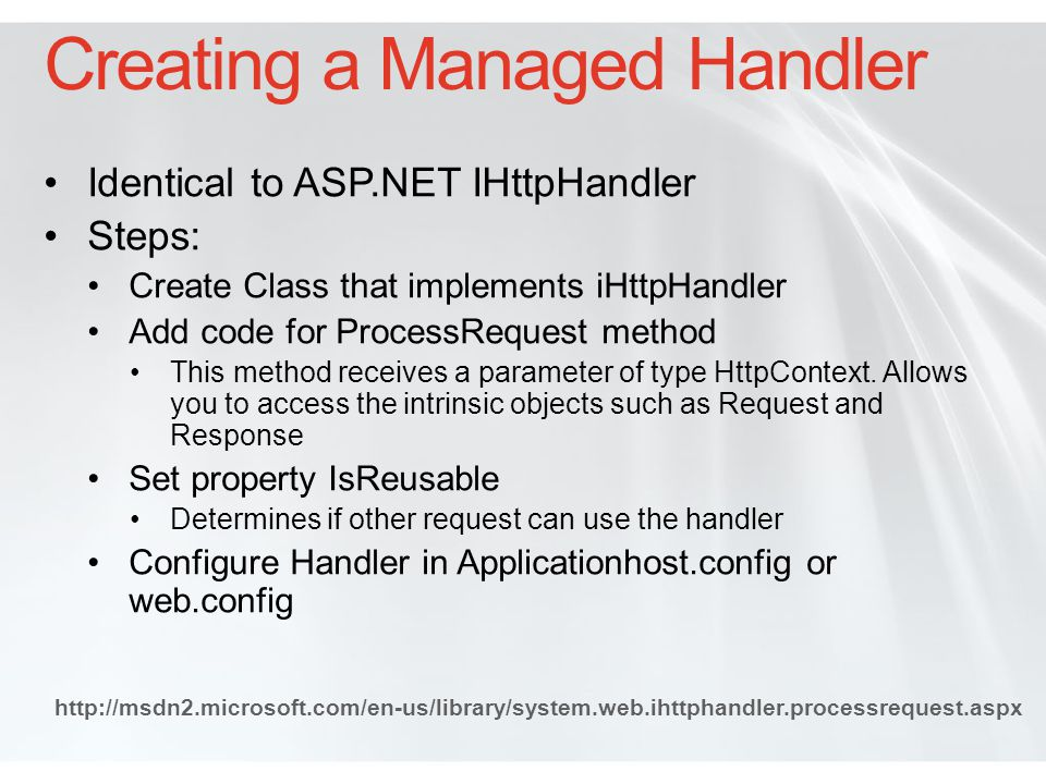 Creating a Managed Handler