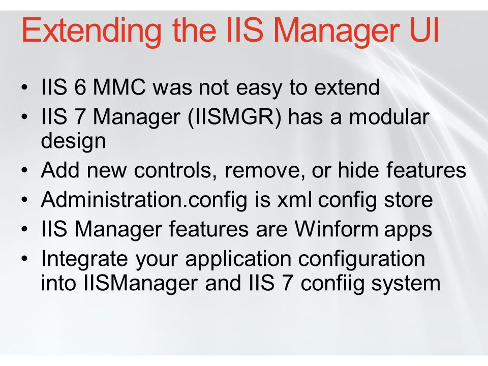 Extending the IIS Manager UI