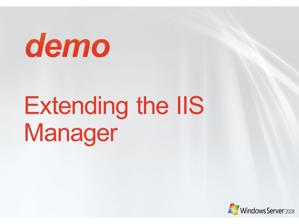 Extending the IIS Manager