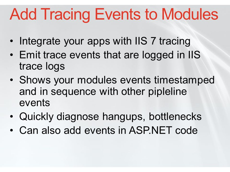 Add Tracing Events to Modules