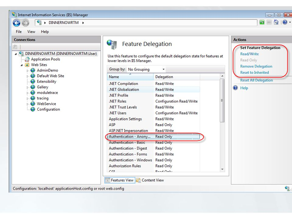 Note: in recent builds, Remove Delegation says Not Delegated