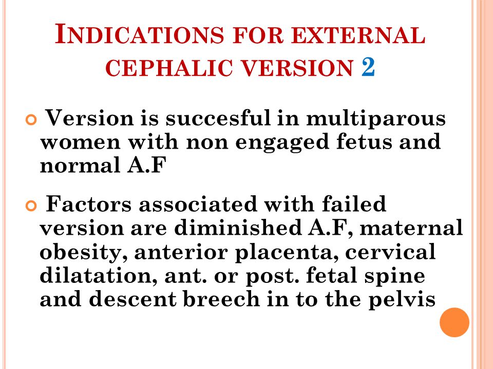 Indications for external cephalic version 2