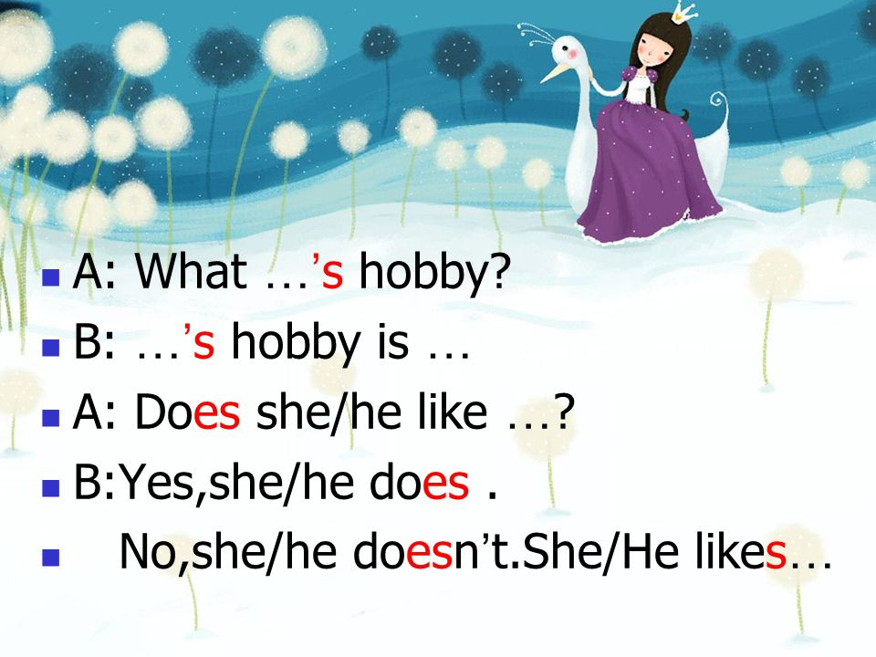 A: What …'s hobby. B: …'s hobby is … A: Does she/he like ….