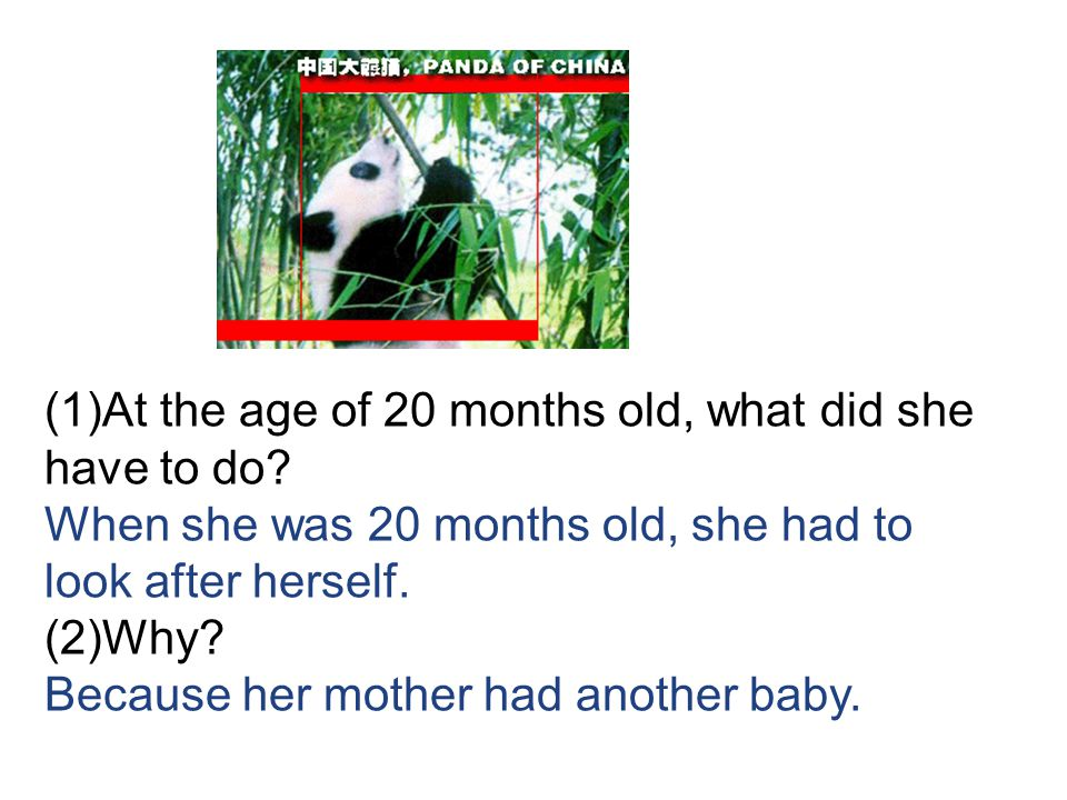 (1)At the age of 20 months old, what did she have to do