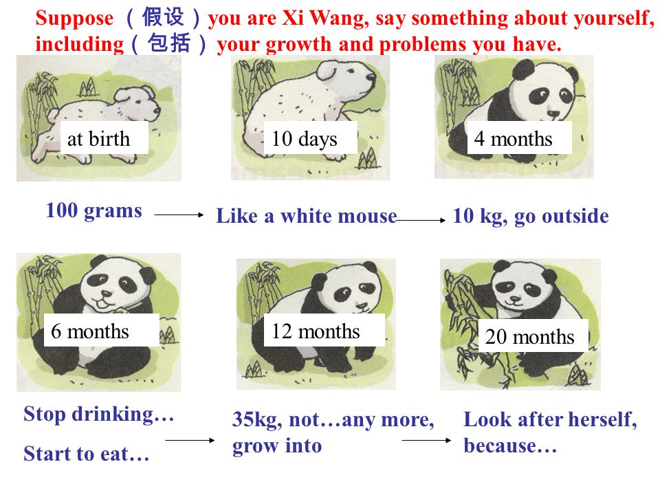 Suppose (假设)you are Xi Wang, say something about yourself, including(包括) your growth and problems you have.