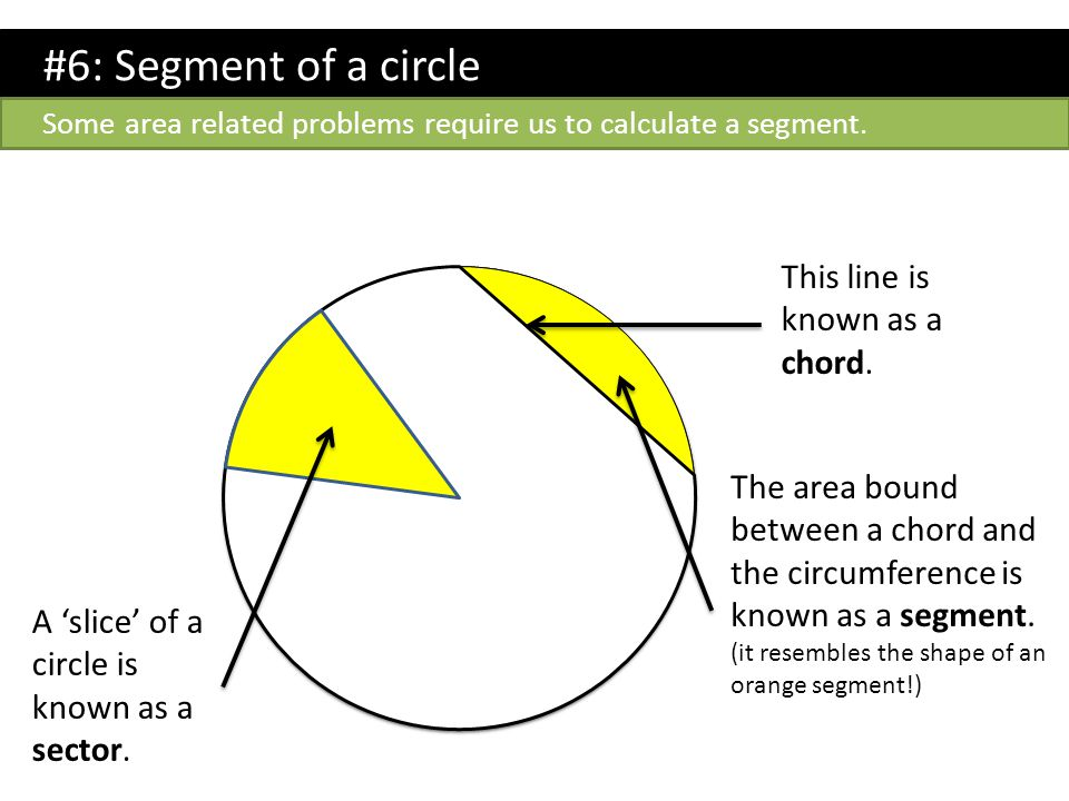 #6: Segment of a circle This line is known as a chord.