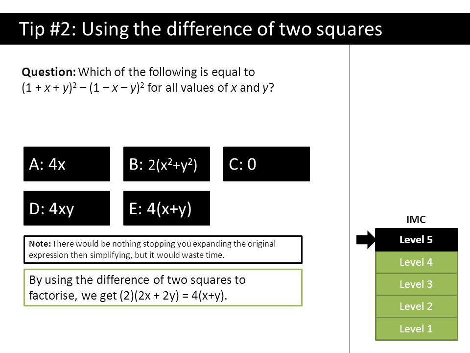 Tip #2: Using the difference of two squares