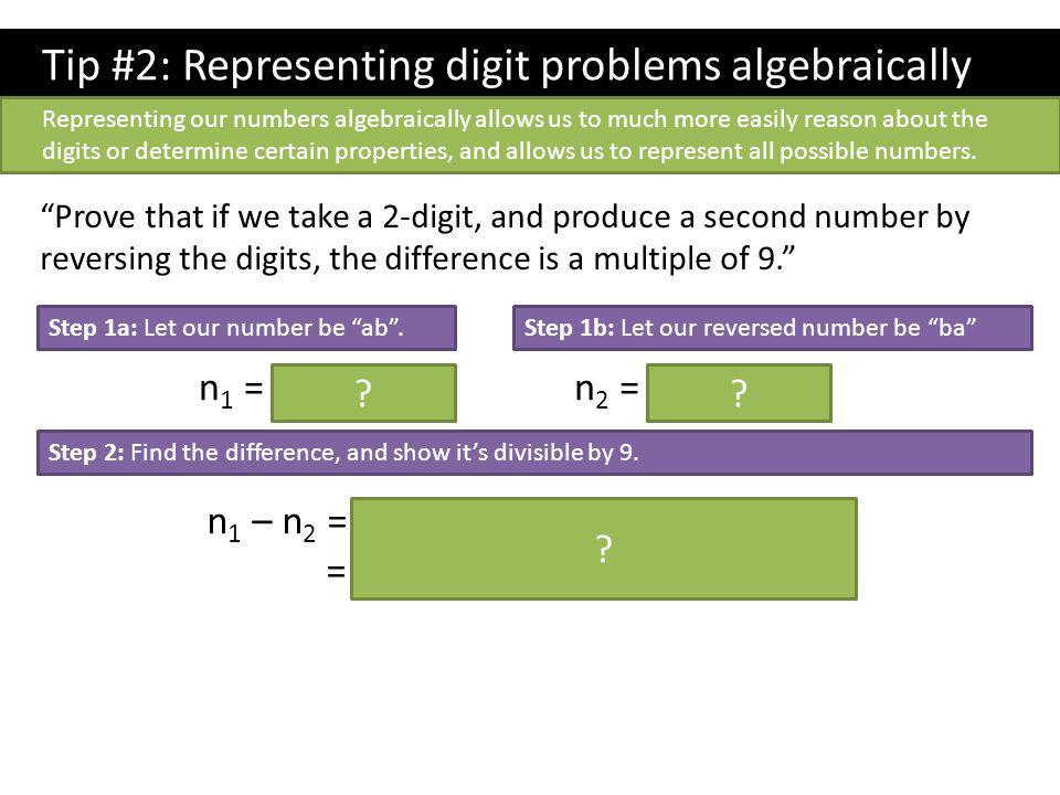 Tip #2: Representing digit problems algebraically