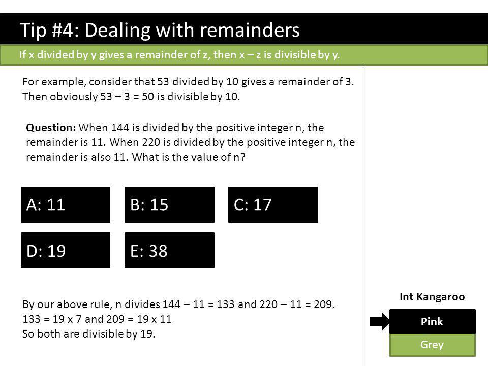 Tip #4: Dealing with remainders