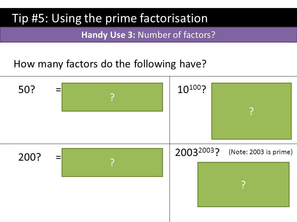 Handy Use 3: Number of factors
