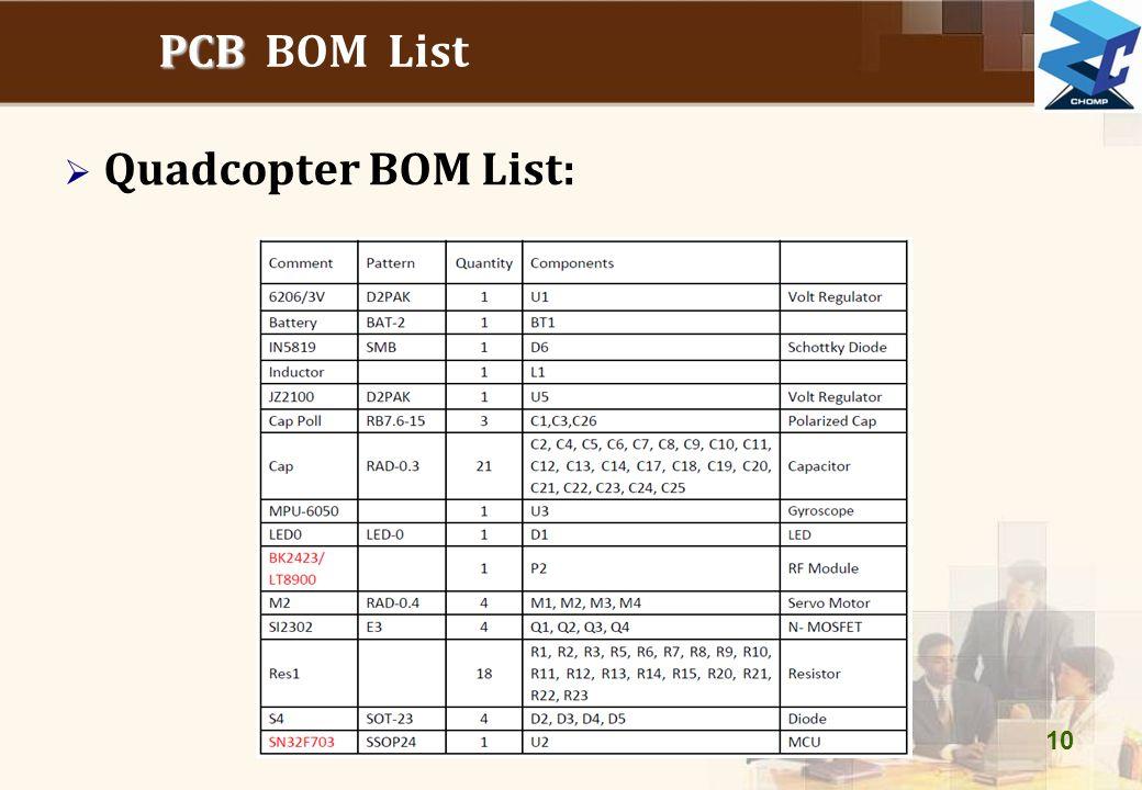 PCB BOM List Quadcopter BOM List: