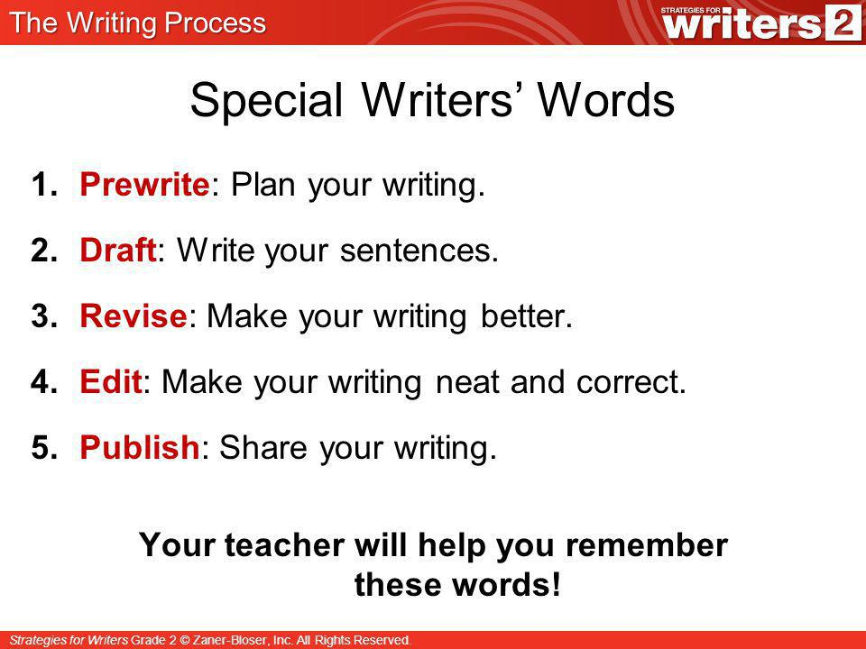 Special Writers' Words