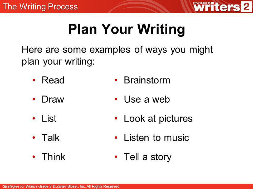 The Writing Process Plan Your Writing. Here are some examples of ways you might plan your writing: