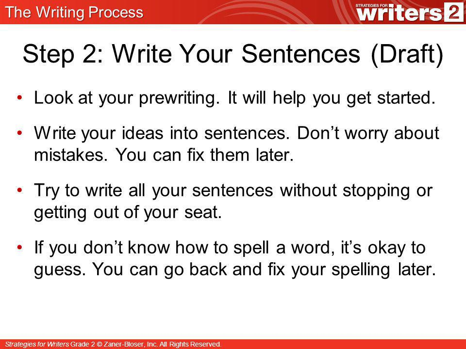 Step 2: Write Your Sentences (Draft)