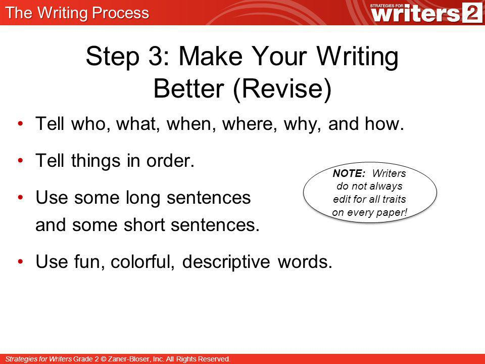 Step 3: Make Your Writing Better (Revise)