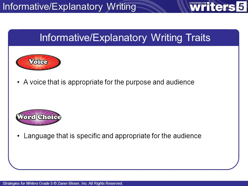 Informative/Explanatory Writing Traits