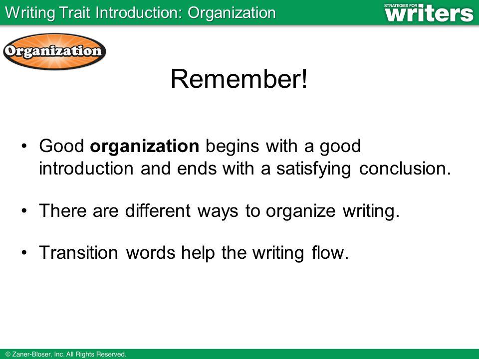 Writing Trait Introduction: Organization