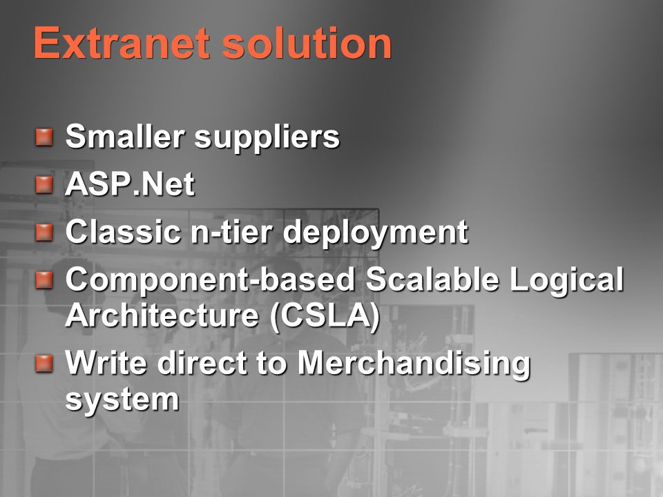 Extranet solution Smaller suppliers ASP.Net Classic n-tier deployment