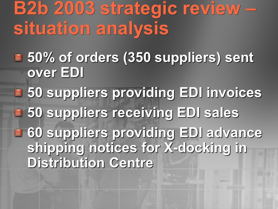 B2b 2003 strategic review – situation analysis