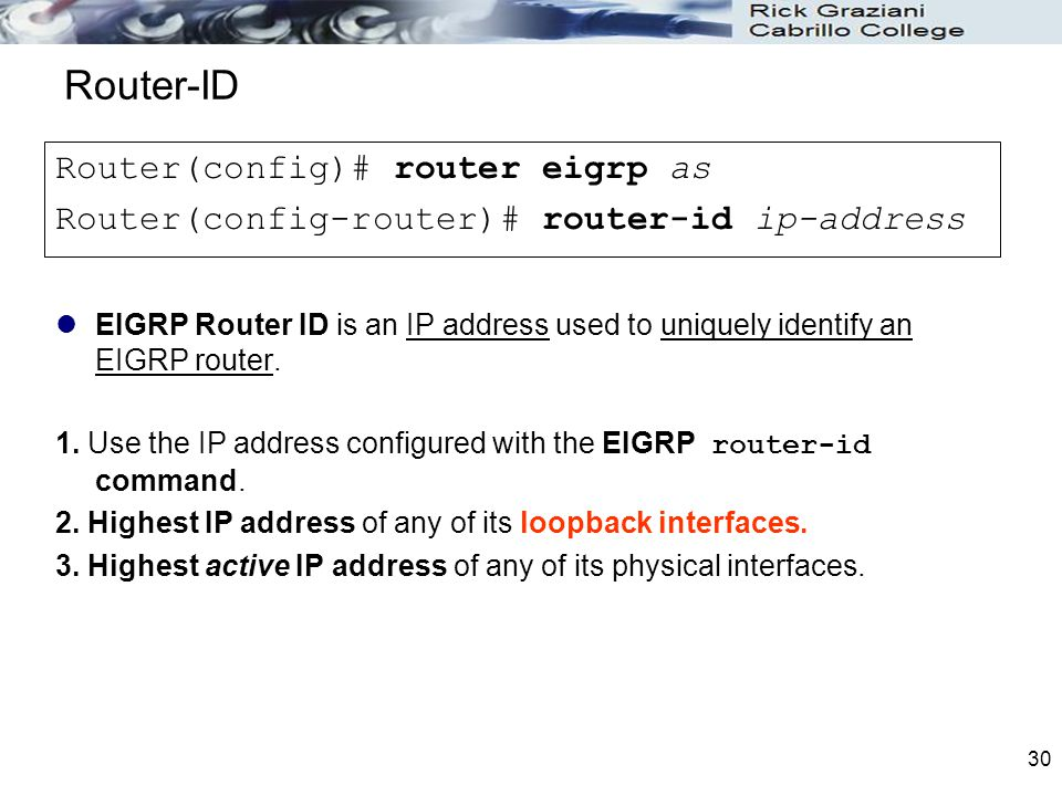 Router-ID Router(config)# router eigrp as