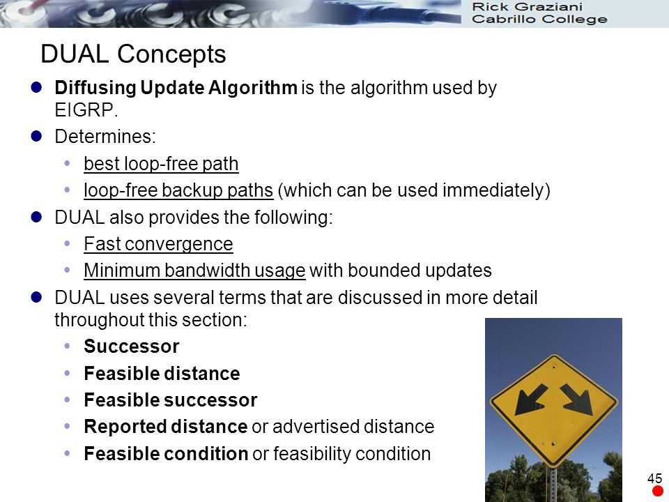 DUAL Concepts Diffusing Update Algorithm is the algorithm used by EIGRP. Determines: best loop-free path.