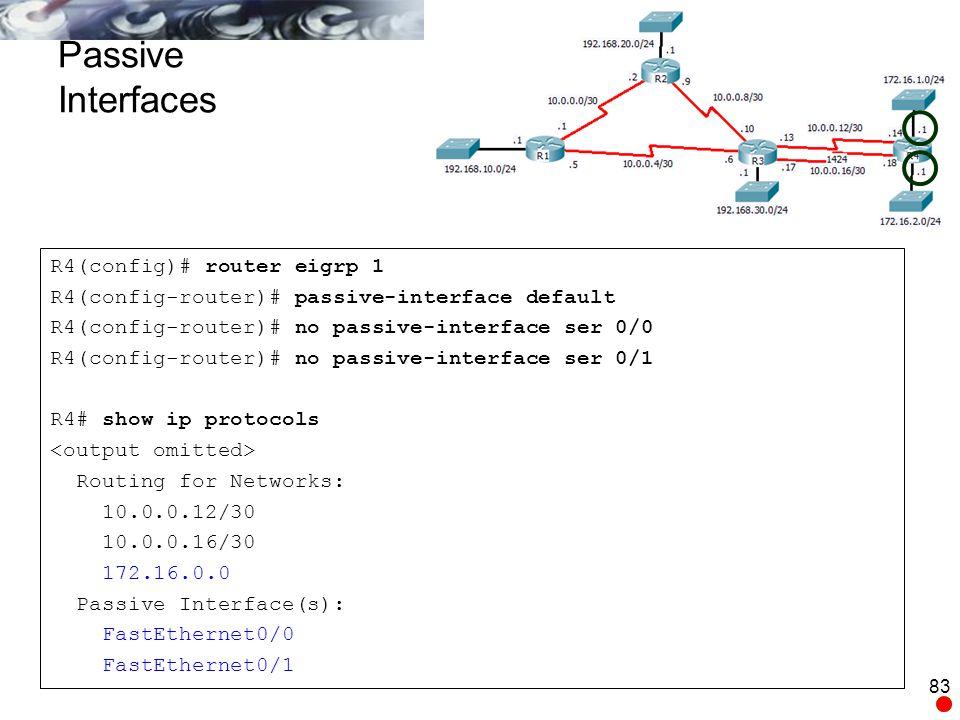Passive Interfaces R4(config)# router eigrp 1