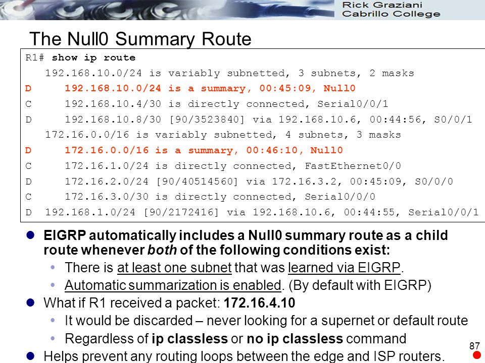 The Null0 Summary Route R1# show ip route. 192.168.10.0/24 is variably subnetted, 3 subnets, 2 masks.