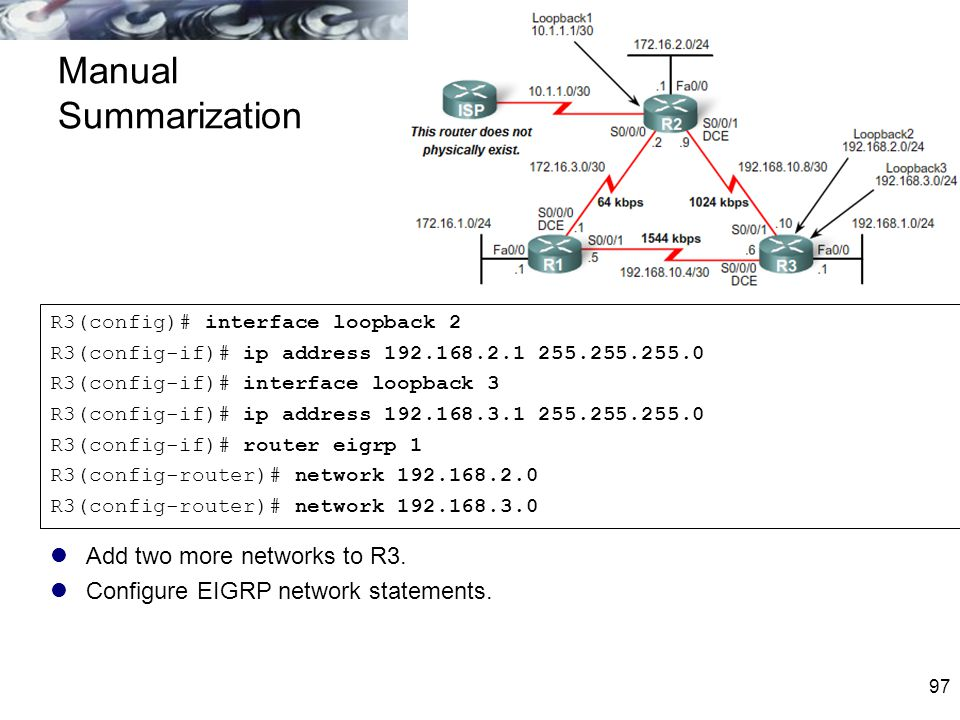 Manual Summarization Add two more networks to R3.