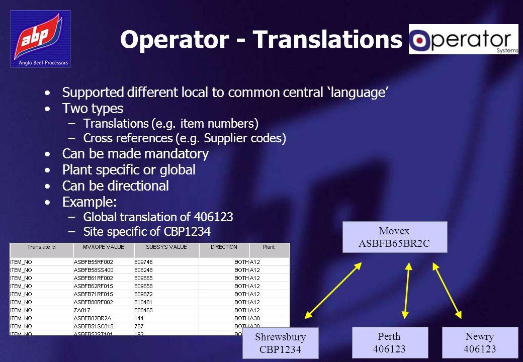 Operator - Translations