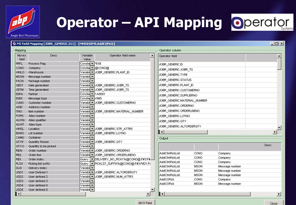 Operator – API Mapping