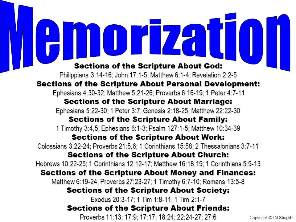 Memorization Sections of the Scripture About God: