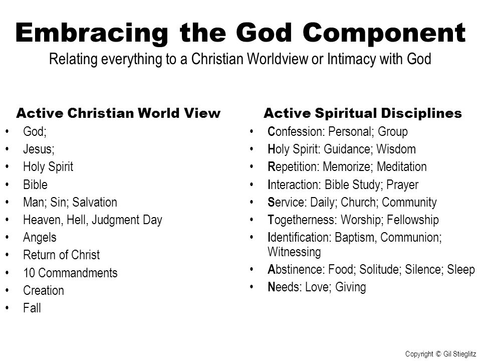 Embracing the God Component Relating everything to a Christian Worldview or Intimacy with God