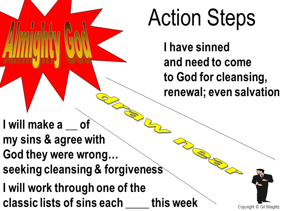 Action Steps Almighty God draw near I have sinned and need to come