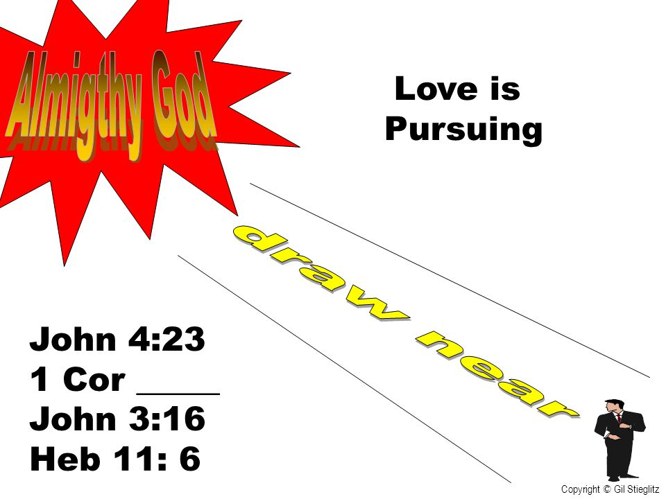 Almigthy God Love is Pursuing draw near John 4:23 1 Cor _____