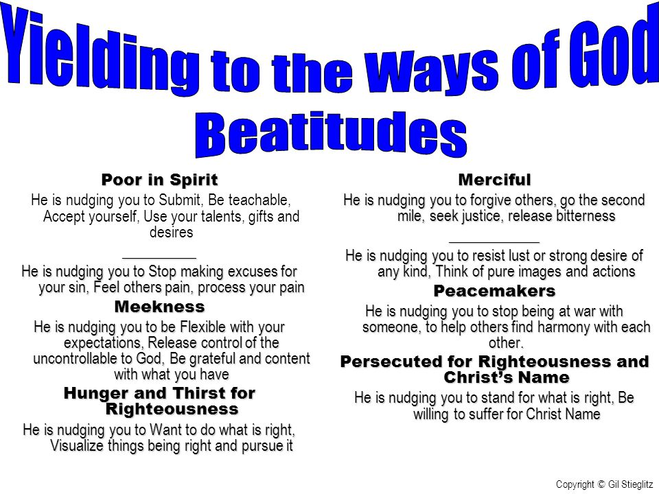 Yielding to the Ways of God Beatitudes