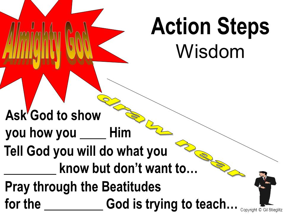 Action Steps Wisdom Almighty God Ask God to show you how you ____ Him