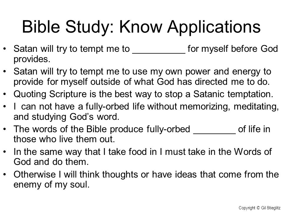Bible Study: Know Applications